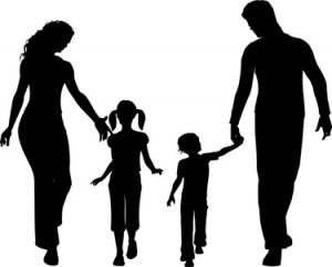 silueta familia con hijos